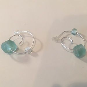 silver spiral drop earrings + turquoise stone